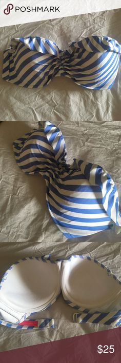 VICTORIA'S SECRET- blue/white striped bikini top VICTORIA'S SECRET- Brand NEW (w/o Tags) Blue and White striped BANDEAU BIKINI TOP - size 36C beautifully structured strapless style bra top with hook closure at the back and a lovely little ruffle decorating the front. Easy to pair to other bottoms. Victoria's Secret Swim Bikinis