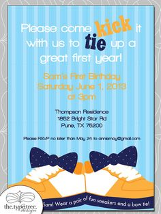 Sneakers and Bow Tie Birthday Invitation - DIY PDF File or Email Evite