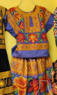 Tehuantepec Embroidery Mexico    A combination of hand embroidery and embroidery by machine decorates this magnificent huipil and skirt from the Isthmus of Tehuantepec in Oaxaca, Mexico