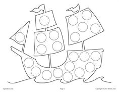 FREE Mayflower Do-A-Dot Printable and Dot Art Painting Coloring Page! Thanksgiving coloring pages like this are great for toddlers, preschoolers, and kindergartners. Get the whole set of 8 Thanksgiving Do A Dot Printables for FREE here --> https://www.mpmschoolsupplies.com/ideas/7866/free-thanksgiving-do-a-dot-printables-and-dot-painting-coloring-pages/