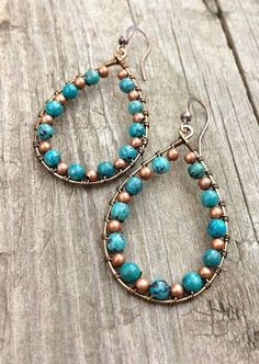 Turquoise earrings, turquoise jewelry, copper hoop earrings, teardrop earrings, boho jewelry, wire wrapped jewelry