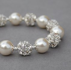 Bridal Ivory Pearl and Rhinestone Bracelet Sparkling by AMIdesigns, $22.00