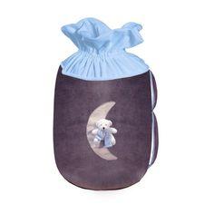 Câlin Câline Gabriel 403.32 - Bolsa para guardar juguetes, diseño con luna osito de peluche, color azul, violeta y blanco