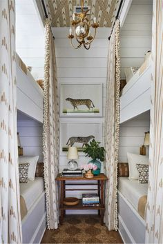 Home Interior Livingroom Bunk Room with ikat curtains and a chandelier and animal art prints by Ornis Gallery designed by Heather Chadduck Interiors at the Southern Living Idea House A dream children's room! Built In Bunks, Bunk Rooms, Bunk Beds Small Room, Adult Bunk Beds, Southern Living Homes, Coastal Living, White Houses, Home Staging, Small Spaces