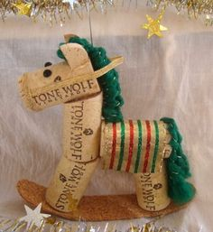 Wine Cork Rocking Horse Ornament Green Striped by TeaandSquirrels Wine Craft, Wine Cork Crafts, Wine Bottle Crafts, Wine Bottles, Christmas Projects, Holiday Crafts, Christmas Crafts, Christmas Decorations, Wine Cork Ornaments