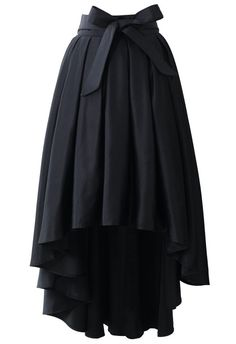 Bowknot Asymmetric Waterfall Skirt in Black - Skirt - BOTTOMS - Retro, Indie and Unique Fashion Unique Fashion, Modest Fashion, Womens Fashion, Fashion Dresses, Chicwish Skirt, Alternative Mode, Black Pleated Skirt, Long Black Skirts, Pleated Skirts