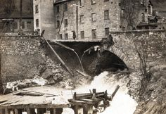 Bridge on Galt Highway near Dundas collapsed under strain of rushing water. Otherwise unidentified. Historical Images, Family First, Local History, Caves, Hamilton, Bridge, Shots, City, Winter