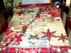 Christmas Table Cloth, Tablecloth for Christmas Days, Rustic Table Cloth, Red White Table Cloth,Modern Tablecloth, Gift For Christmas Days.
