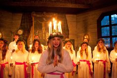 Lucia is a Swedish tradition that falls each year on December 13th and is a tradition much loved by Swedes. Early in the morning, the chosen Lucia appears dressed all in white and wearing a crown of candles. She wakes the family by singing traditional songs and bringing Lucia buns and coffee.