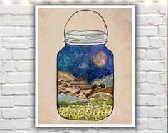 Star Jar - 11 x 14 paper print, nature poster, mountain poster, moon and stars, collage art