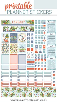 Mini Happy Planner Printable January Stickers