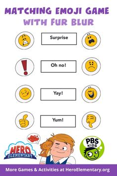 Matching games help kids improve concentration, train visual memory, increase attention to detail, and so much more! Help your kids practice their memory and match words with different emojis - Fur Blur's special way of communication! Science Games For Kids, Different Emojis, Activity Games, Activities, Printable Games For Kids, Emoji Games, Visual Memory, Pbs Kids, Matching Games
