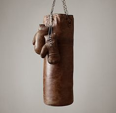 vintage leather punching bag..would love to have this after a stressful day