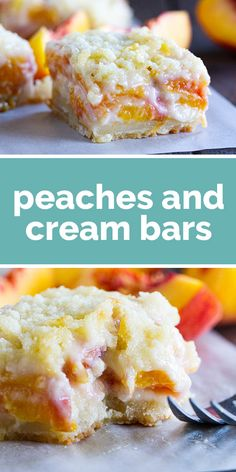 For a different take on a peach pie, try these Peaches and Cream Bars that have a shortbread crust, a creamy peach filling and a crumble topping. Desserts Peaches and Cream Bars - Taste and Tell Bon Dessert, Oreo Dessert, Dessert Bars, Quick Dessert, Dessert Healthy, Dinner Healthy, Dinner Dessert, Dessert Food, Köstliche Desserts