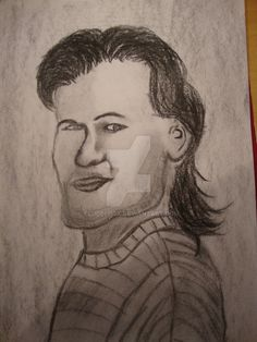 Patrick Swayze Charcoal Portrait by Flugelhgk Bad Fan Art, Charcoal Portraits, Patrick Swayze, Cartoon Shows, Weird, Celebrity, Deviantart, Drawings, Sketches