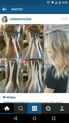 5 point star, two section hair painting. Balayage. Natural highlights. Sombre.
