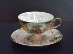 Vintage, Pink and gold courting teacup set