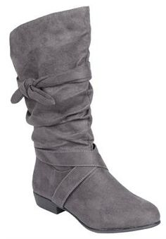 Wide Width Heather wide calf scrunch boot by Comfortview® | Wide Calf Boots from Roamans