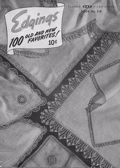 Edgings 100 Old New Favorites Crochet Knitting Patterns Flower Filet Lacy 1945 #CoatsClark