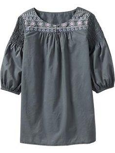 Girls Embroidered Smocked-Shoulder Tunics | Old Navy