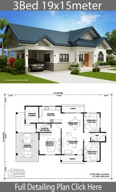 Home design plan 15x20m with 3 Bedrooms - Home Design with Plansearch