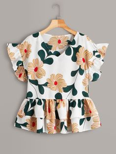 Frock Design, Peplum Blouse, Dressy Tops, Cute Shirts, Types Of Sleeves, Blouse Designs, Blouses For Women, Women's Blouses, Fashion Dresses