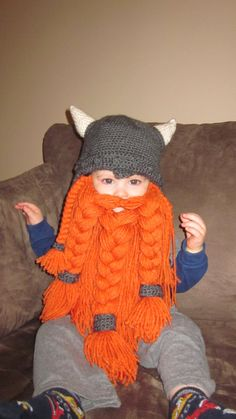 Crochet Viking Hat with Beard by TheWorldOfWoolCraft on Etsy, $60.00