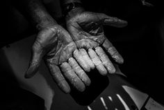October 21, 2014. Rob Salthouse shows me his hands after the rain shower early morning
