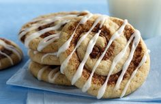 Cookies  1 pouch (1 lb 1.5 oz) Betty Crocker® sugar cookie mix 1/2 teaspoon ground cinnamon 1/2 cup butter or margarine, softened 1 egg, slightly beaten 1 tablespoon ground cinnamon  Glaze  1 cup powdered sugar 2 tablespoons milk 1/4 teaspoon vanilla  Directions:  1. Heat oven to 375°F. In large bowl, mix cookie mix and 1/2 teaspoon cinnamon. Stir in butter and egg until soft dough forms.  2. On piece of waxed paper, shape 1 tablespoon cinnamon into a line about 5 inches long. Using floured…