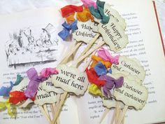 Alice Unbirthday Parchment Party Cupcake Cake Slice Toppers -Set of 36 - Rainbow Ribbons on Etsy, $40.00