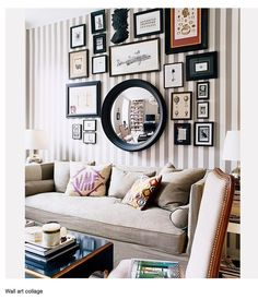 Gallery Wall Inspiration - mix of mirrors and room design design ideas house design Striped Walls, Striped Room, Inspiration Wall, Library Inspiration, Bathroom Inspiration, Home And Deco, My New Room, Home Fashion, Home Interior