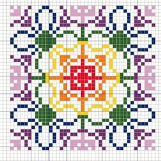 Buzy Bobbins: Rainbow coloured geometric pattern cross stitch design