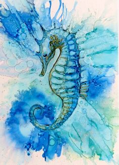 Beautiful Seahorse. Alcohol Ink on Yupo - Helen Cook