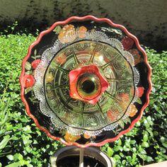 Spanish Rose Glass Flower Plate Garden Art Suncatcher Sculpture Recycled Upcycled on Etsy, $40.00