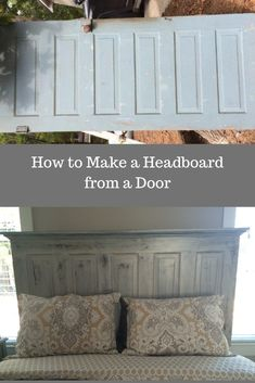 Looking for an inexpensive DIY idea for a headboard? We will show you how to make a headboard for queen or king bed from a vintage door using crown molding. This is the perfect weekend project. We kept the distressed appearance because we like the Headboards For Beds, Bedroom Diy, Door Headboard, Home Diy, Diy Wood Headboard, Diy Furniture, How To Make Headboard, Diy King Headboard, Woodworking Furniture Plans
