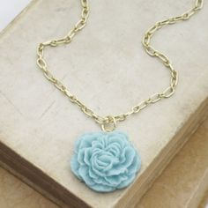 Peony Ruffle Long Statement Necklace Light Blue by HeatherBerry, $27.00