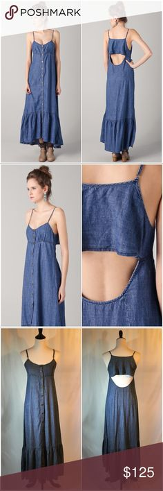 Free People Open Back Maxi Dress Gorgeous Free People Open Back Maxi Dress! SNAPS all the way down! Description in pic above. Reasonable offers welcome. 20% off bundles! Free People Dresses Maxi