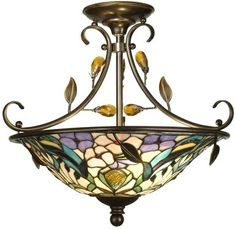 Ceiling Fixture DALE TIFFANY 2-Light Antique Golden Sand Brown/Beige/Tan DY-1024