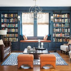 Blue and Orange Room, Transitional, den/library/office, Cory Connor Design