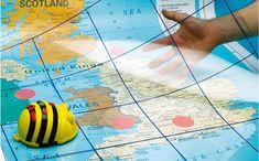 En beebot på en världskarta