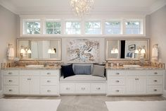 Gorgeous white cabinets, timeless in this master bathroom. We love the bench between the two vanities. Custom Cabinetry, White Cabinets, Vanities, Master Bathroom, Two By Two, Bench, Design, Custom Closets, White Dressers