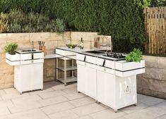 Küche für den Garten – Outdoor Küche von Löchte im Münsterland Küchen Design, Patio, Outdoor Living, Kitchen Island, Home Decor, Houses, Kitchens, Built In Grill, Outdoor Spaces