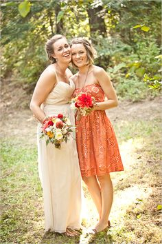 orange brides dress