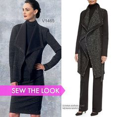 This Donna Karan coat on the right is in stores now. Make your own version with Vogue Patterns V1465; just extend the length. #voguepattern #sewthelook