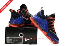 Mens 724557-620 NIKE LeBron 12 Low BLUE ORANGE BLACK SILVER