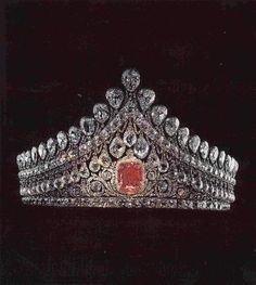 The Imperial wedding tiara, which was made for the Empress Elisabeth Alexeievna. It is made from over a thousand diamonds with a beautiful 13 carat pink diamond ornamenting the centre.