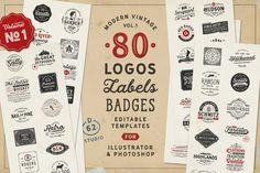 80 Modern Vintage Logos vol 1 by DISTRICT 62 studio on @creativemarket