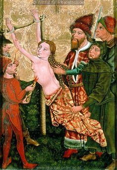 middle 15th century (1455-1460) Austria - Styria.  Altar paintings of martyrdom of Saint Margaret - Burning