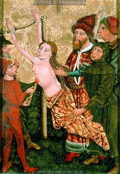 middle 15th century (1455-1460) Austria - Styria.  Altar paintings of martyrdom of Saint Margaret - Burning