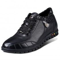 Black calf leather elevated casual shoes gain height 6cm / 2.36 inches